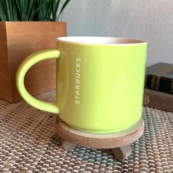 2012 lime green and white Starbucks coffee mug cup